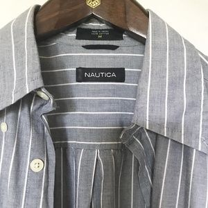 Nautica Striped Blue and white Shirt size M 100% C